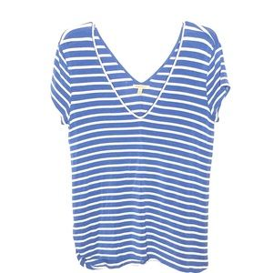 Anthropologie Bordeaux Blue Stripped tee S